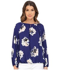 Vince Camuto Long Sleeve Duel Floral Shirred Neck Peasant Blouse Night Tide Women's Blouse Blue
