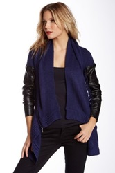 Dex Devoted Faux Leather Cardigan Blue