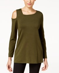 Alfani Asymmetrical Cold Shoulder Sweater Created For Macy's Autumn Moss
