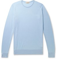 John Smedley Slim Fit Sea Island Cotton And Cashmere Blend Sweater Blue