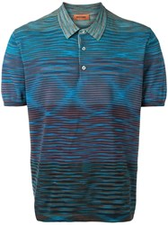 Missoni Knitted Polo Shirt Blue