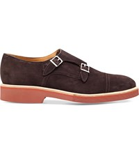 Corneliani Double Buckle Suede Monk Shoes Dark Brown