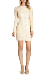 Women's Dress The Population 'Lola' Backless Sequin Minidress Tuscan Beige