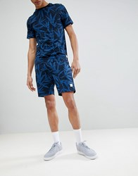 Only And Sons Jersey Shorts With All Over Print Dark Sapphire Navy