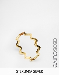 Asos Curve Gold Plated Sterling Silver Zig Zag Ring