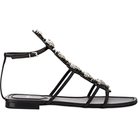 Fendi Crystal Embellished Gladiator Sandals Black