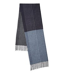 Saks Fifth Avenue Black Striped Cashmere Scarf Black