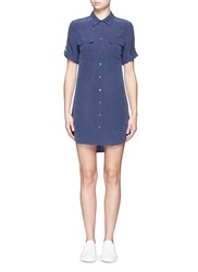 Equipment 'Slim Signature' Short Sleeve Shirt Dress Blue