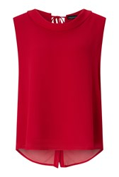 James Lakeland Cowl Neck Button Back Top Red