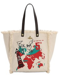 Vivienne Westwood Word Map Cotton Canvas Tote Natural