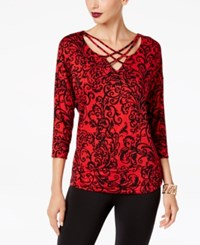 Thalia Sodi Lattice Trim Top Created For Macy's Cabernet Scroll