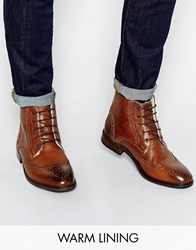 Asos Brogue Boots In Leather With Faux Shearling Lining Tan