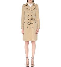 Burberry The Sandringham Long Cotton Gabardine Trench Coat Honey