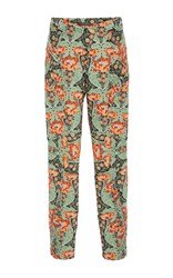 Zac Posen Bellflower Jacquard High Waisted Pants Green