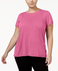 Calvin Klein Performance Plus Size Heathered Pleated Back T Shirt Pinkberry