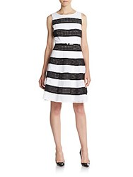 Calvin Klein Striped Cotton Eyelet Fit And Flare Dress White Black