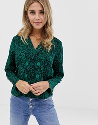 Influence Animal Print Blazer Blouse With Button Detail Green