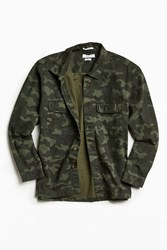 Urban Outfitters Uo Camo Print Over Shirt Olive