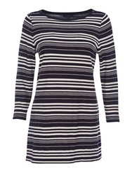 Lands' End Starfish Jacquard Boatneck Tunic Navy Stripe