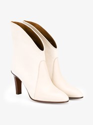 Chloe Kole Leather Ankle Boots Cream