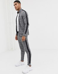 Gym King Skinny Joggers In Check With Side Stripes Black
