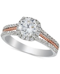Macy's Diamond Halo Engagement Ring 1 1 6 Ct. T.W. In 14K White And Rose Gold Two Tone