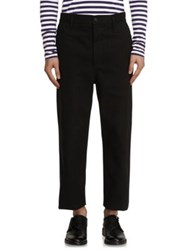 Burberry Cotton Twill Cropped Workwear Trousers Black