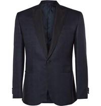 Brioni Navy Slim Fit Checked Silk And Wool Blend Tuxedo Jacket Navy