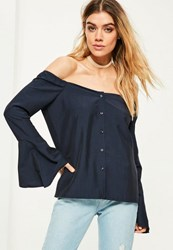 Missguided Navy Trumpet Sleeve Button Front Bardot Blouse