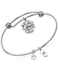 Unwritten Two Tone Faith Disc Bangle Bracelet In Stainless Steel With Silver Plate And Gold Plate