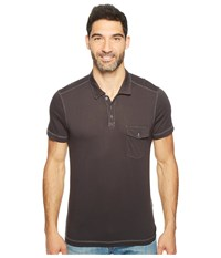 Agave Spicoli Short Sleeve Rugby Polo Supima Modal Stretch Limo Men's Short Sleeve Pullover Black