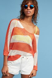 Anthropologie Boardwalk Open Stitched Pullover Coral
