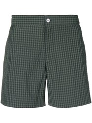 Officine Generale Checked Beach Shorts Green