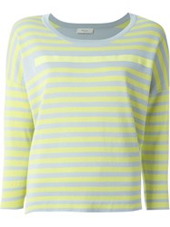 Paul By Paul Smith Three Quarter Sleeve Striped T Shirt Green