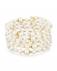 Emily And Ashley Golden Simulated Pearl Crystal Wrap Bracelet White