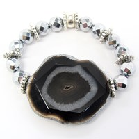 Dripping In Gems Jasper Pendant Bracelet Black Brown Jasper