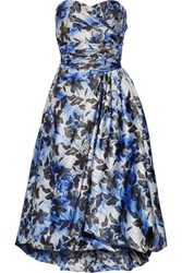 Mikael Aghal Strapless Pleated Printed Crepe Midi Dress Multi