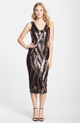 Dress The Population 'Anna' Graphic Sequin Midi Dress Black Rose Gold