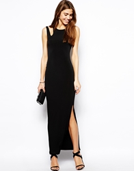 Oh My Love Maxi Dress With Cut Out Shoulder Black