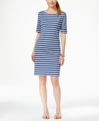 Karen Scott Petite Striped Elbow Sleeve Dress Only At Macy's Heather Indigo