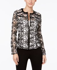 Inc International Concepts Embroidered Sheer Lace Jacket Only At Macy's Deep Black