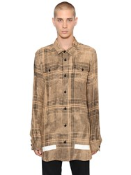 Off White Bleached Plaid Linen Shirt