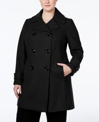 Anne Klein Plus Size Double Breasted Peacoat Only At Macy's Black