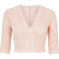 River Island Womens Pink Lace Plunge Crop Top
