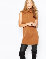 Vila Roll Neck Sleeveless Tunic Oakbrown