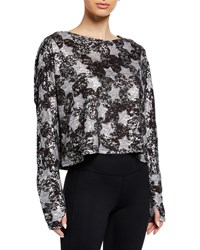 Terez Foil Star Print Cropped Pullover Sweater Gray Pattern