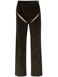 Y Project Slashed Straight Leg Corduroy Trousers Green