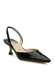 Manolo Blahnik Carolyne Patent Leather Kitten Heel Slingback Pumps Black