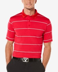 Callaway Men's Striped Performance Golf Polo Shirt Tango Red