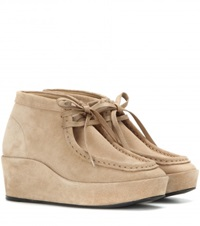 Balenciaga Suede Wedge Ankle Boots Beige